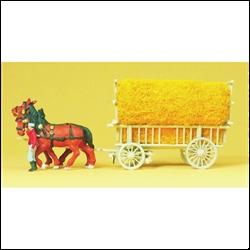 30477 Лошади с телегой с сеном - фото 10980