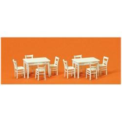 17217 Столы (2) + стулья (8) деревянные белые - фото 12632