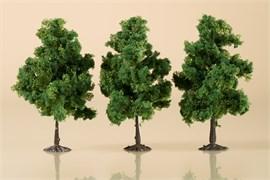 70938 Деревья лиственные (3) темно-зеленые 11 см