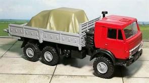 RUSAM-KAMAZ-4310-11-250 Автомобиль КамАЗ 4310 бортовой гружёный (красно-серый), 1:87, 1979, СССР