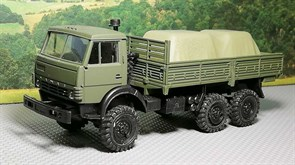 RUSAM-KAMAZ-4310-12-100 Грузовой автомобиль КамАЗ 4310 бортовой гружёный (зеркала) (зелёный), 1:87, 1979, СССР